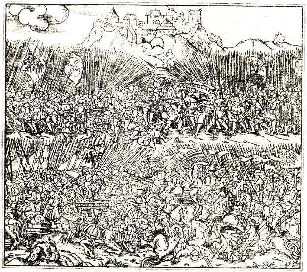 Грюнвальдская битва.  Гравюра XVI в.